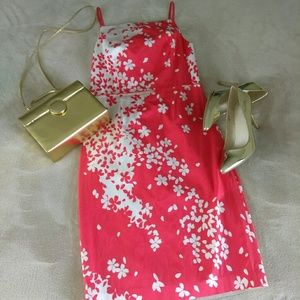 Magaschoni floral dress size 10 coral and white